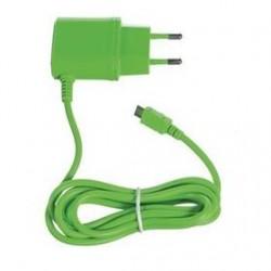 Cestovná nabíjačka CELLY s konektorom microUSB, 1A, zelená, blister