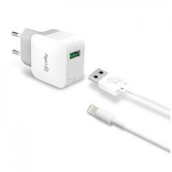 Set CELLY Turbo cestovnej USB nabíjačky a Lightning kábla, 2,4 A, biela