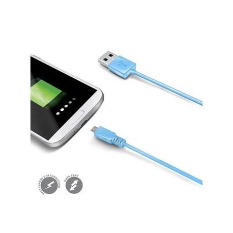 Dátový USB kábel CELLY s konektorom microUSB, modrý
