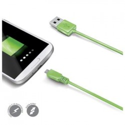 Dátový USB kábel CELLY s konektorom microUSB, zelený